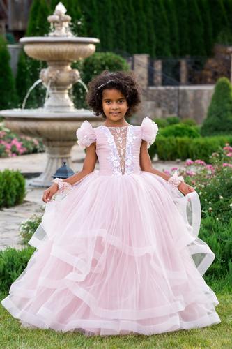 Платье для девочки Виктори D-1166 пудра